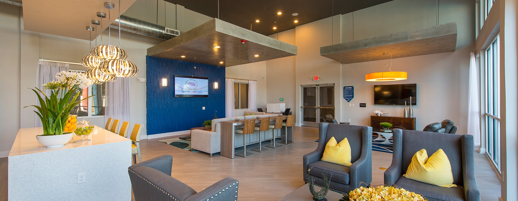 open well lit resident lounge